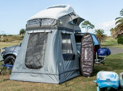 Our deluxe family roof top tent with annex and cover