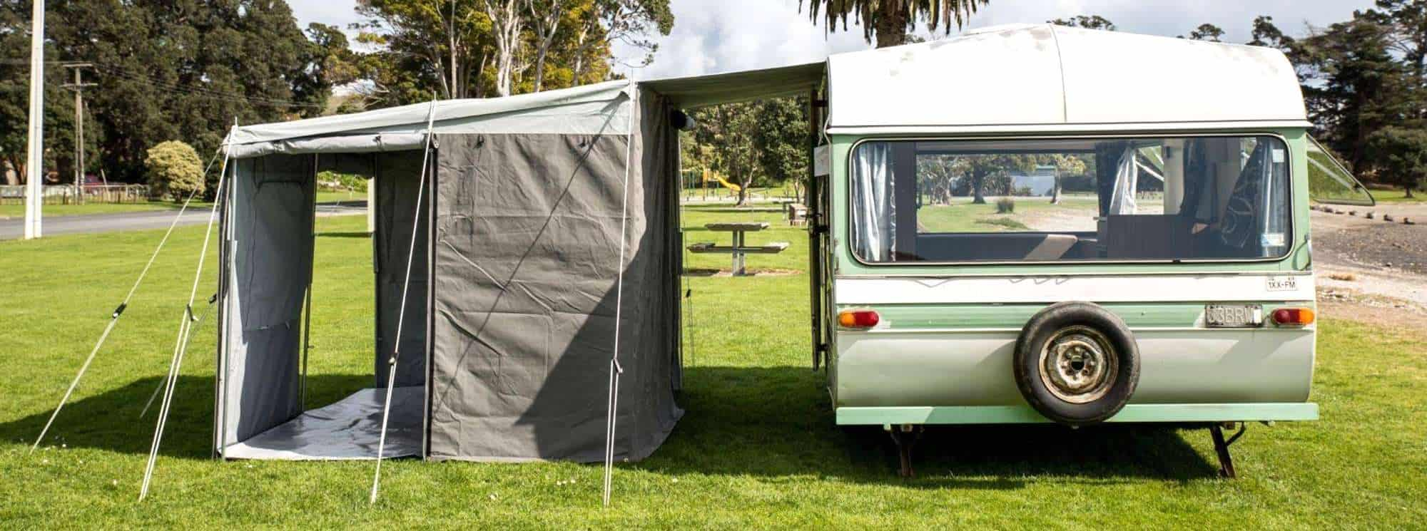 Our hugely versatile walk-thru awnings for nz and eu caravans, by intenze.co.nz
